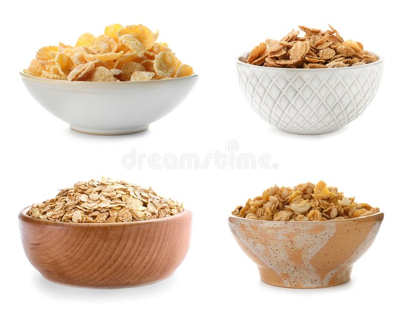 Set with bowls of breakfast cereals stock photo
