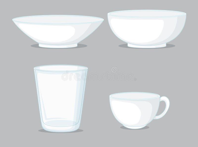Set of bowls and cups. Illustration vector illustration