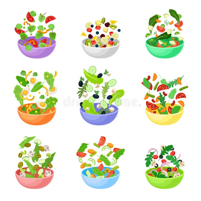 Set of bowls with pieces of vegetables. Vector illustration on a white background. stock illustration