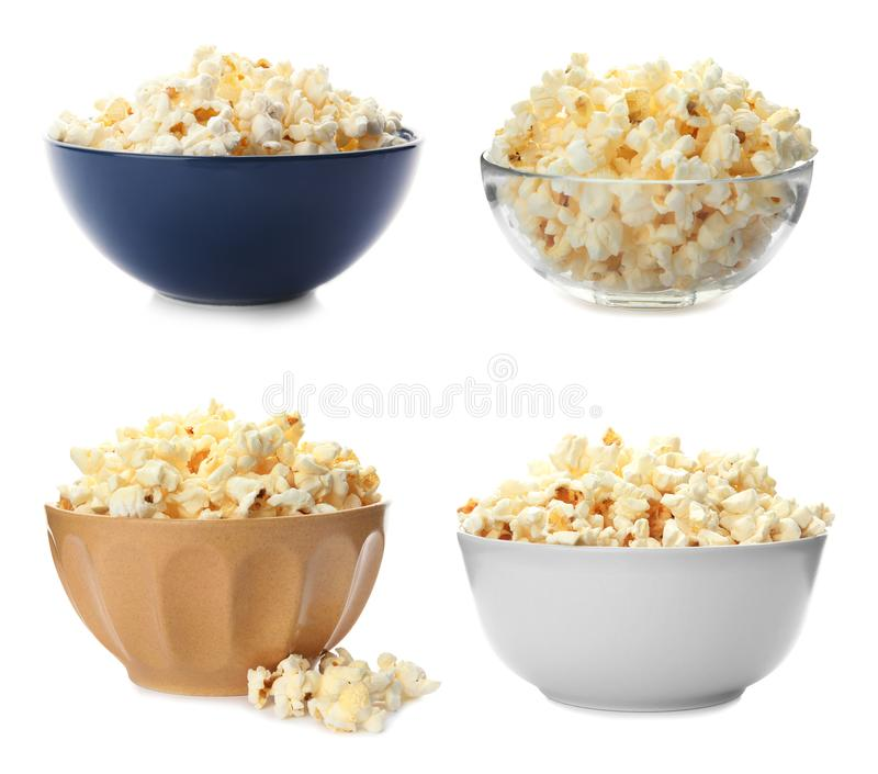 Set with bowls of tasty popcorn stock photography