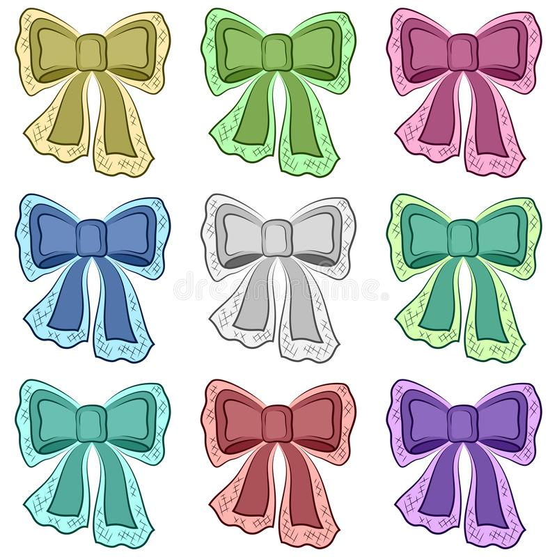 Set of Bows. Set of Colorful Bows, Decorative Design Elements Isolated on White Background. Vector vector illustration