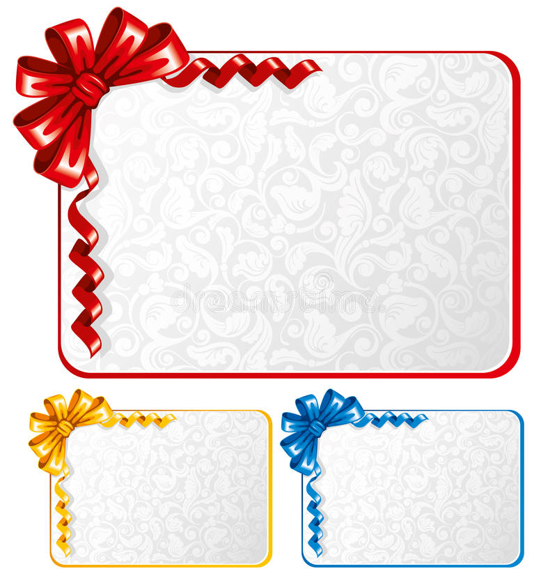 Set of bows with greeting cards stock illustration
