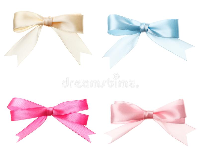 Set of bows pink, white, blue isolated stock photos