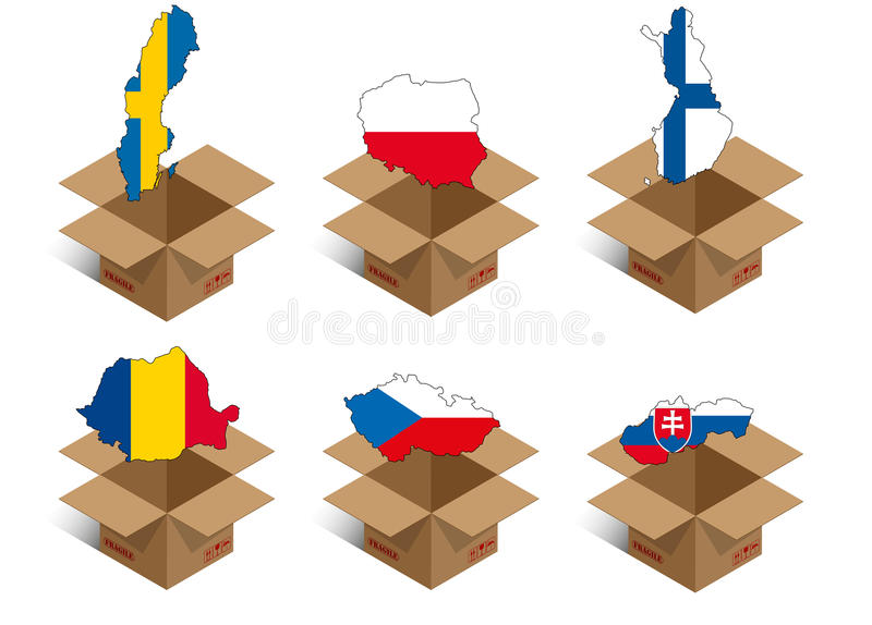 Set Box For Delivery Royalty Free Stock Photo