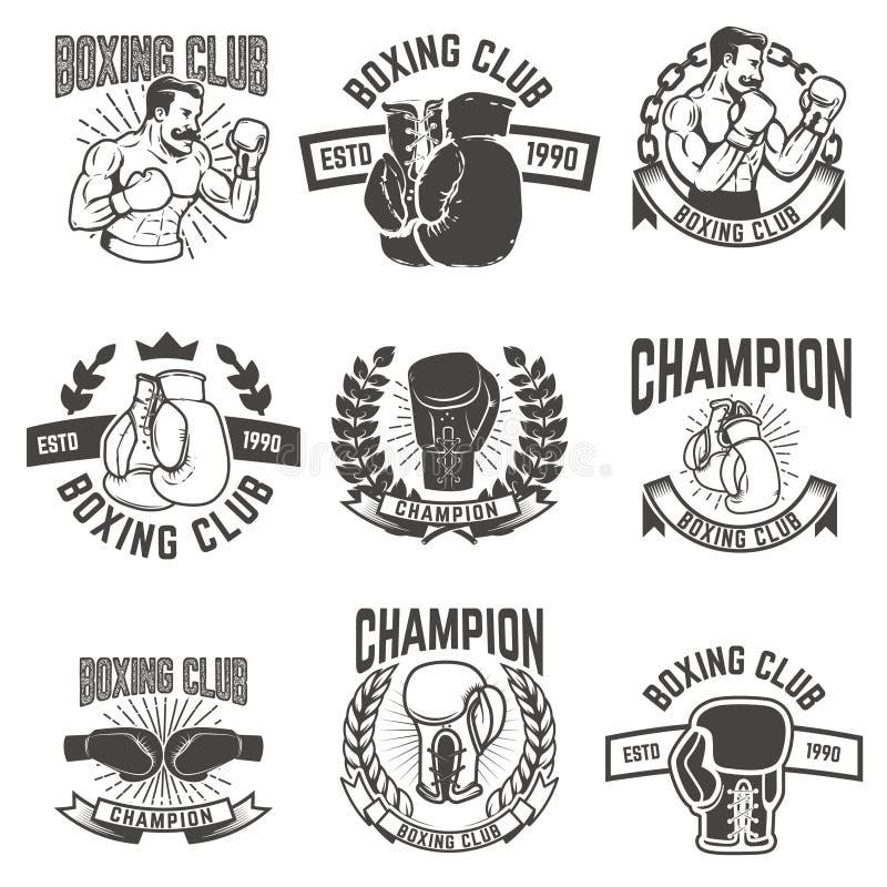 Set of boxing club labels. Design elements for logo, label, stock illustration