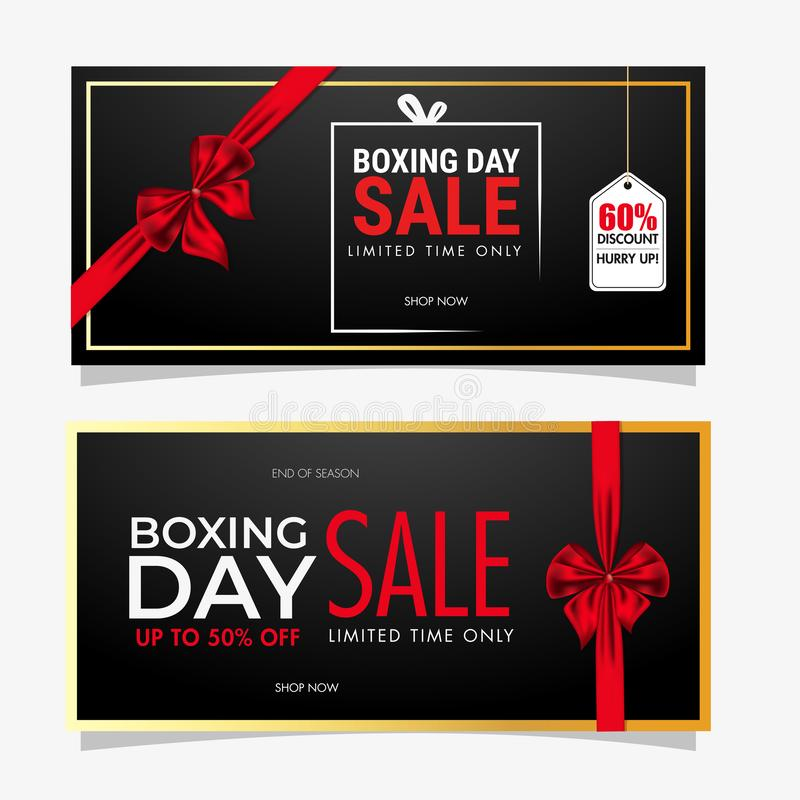 Set of Boxing Day Sale banner design covering with red ribbon and different discount offer on background. Set of Boxing Day Sale banner design covering with red royalty free illustration