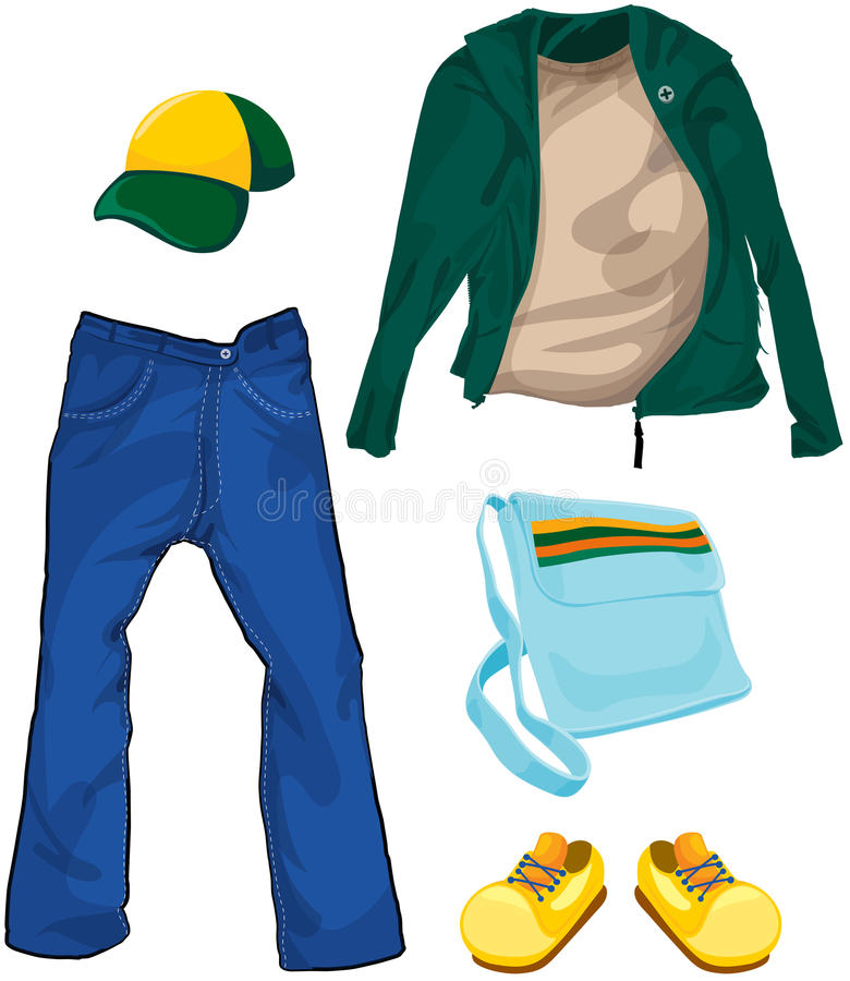 Set of boy casual clothes stock illustration