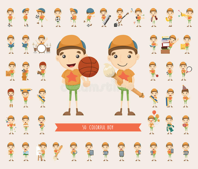 Set of boy character collection vector illustration