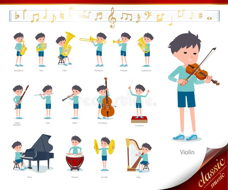 Flat type blue clothing boy_classic music. A set of boy on classical music performances.There are actions to play various instruments such as string instruments stock illustration
