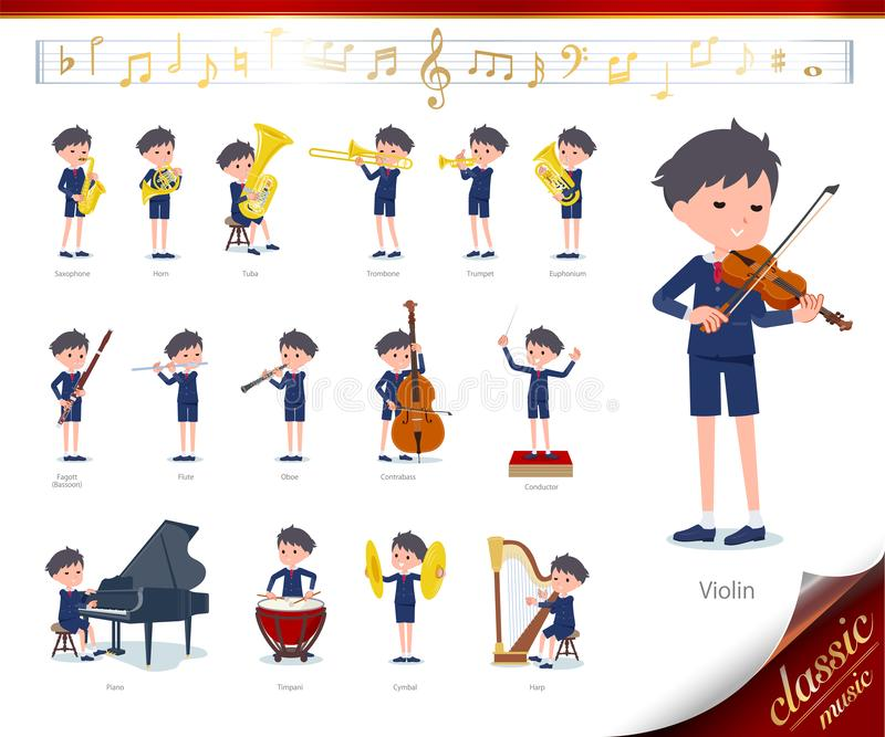 Flat type primary school boy_classic music. A set of boy on classical music performances.There are actions to play various instruments such as string instruments stock illustration
