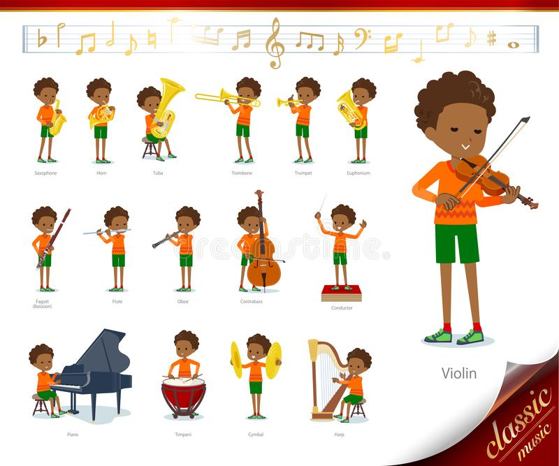 Flat type perm hair boy black_classic music. A set of boy on classical music performances.There are actions to play various instruments such as string stock illustration