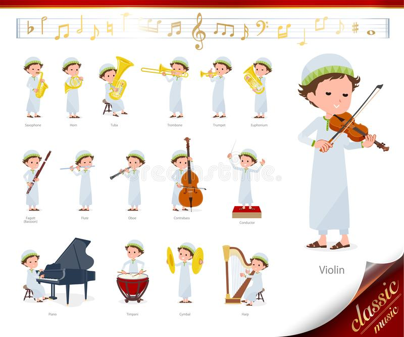 Flat type Arab boy_classic music. A set of boy on classical music performances.There are actions to play various instruments such as string instruments and wind royalty free illustration