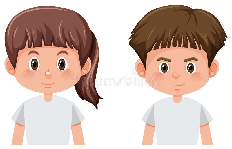 Set of boy and girl character. Illustration vector illustration