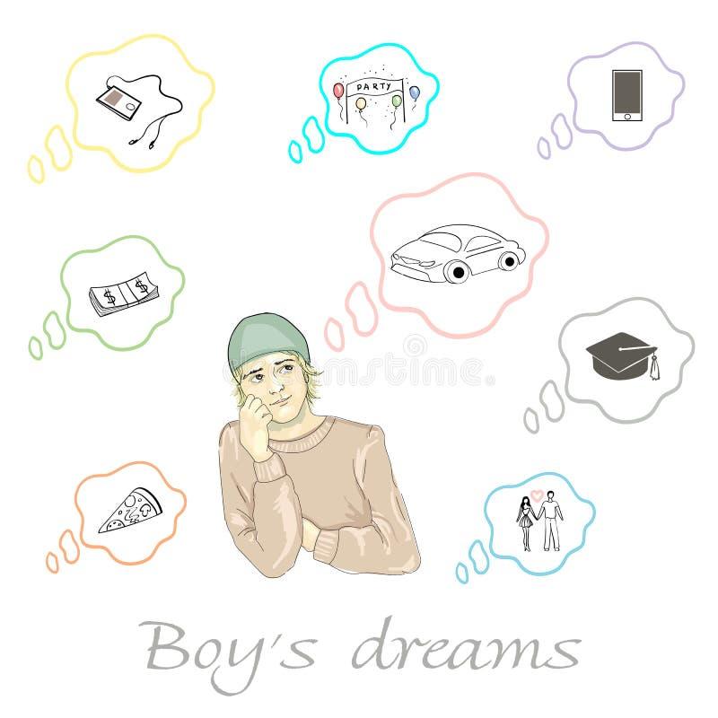Set of boy`s dreams in royalty free illustration