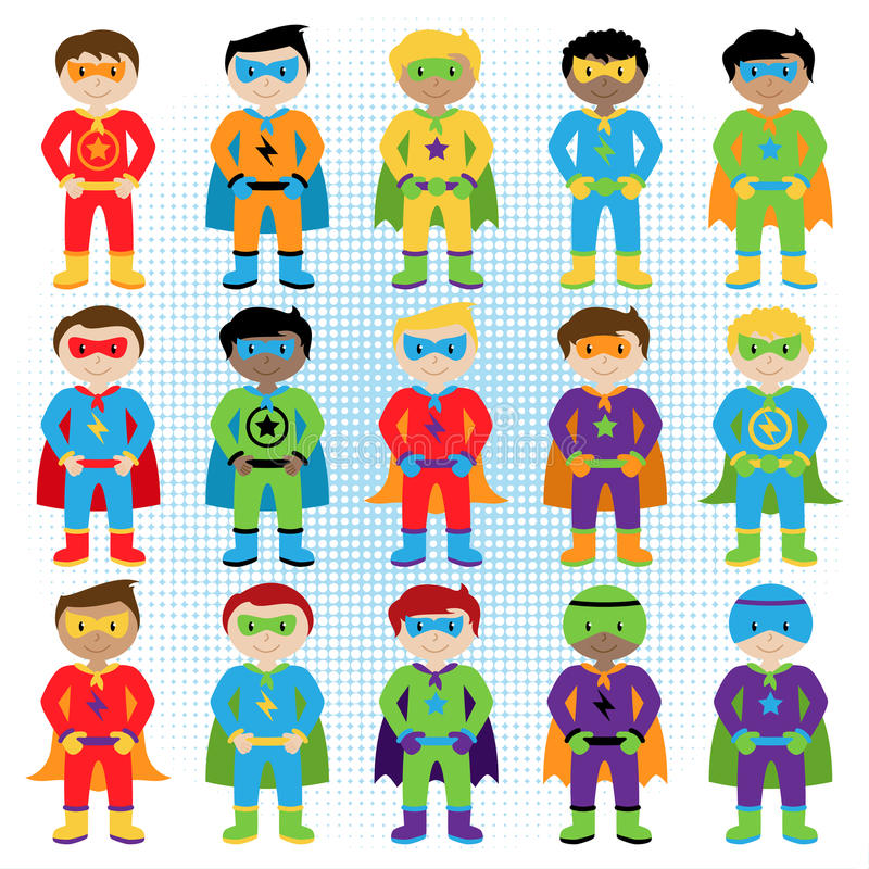 Set of Boy Superheroes in Vector Format. With Hands on Hip Pose royalty free illustration