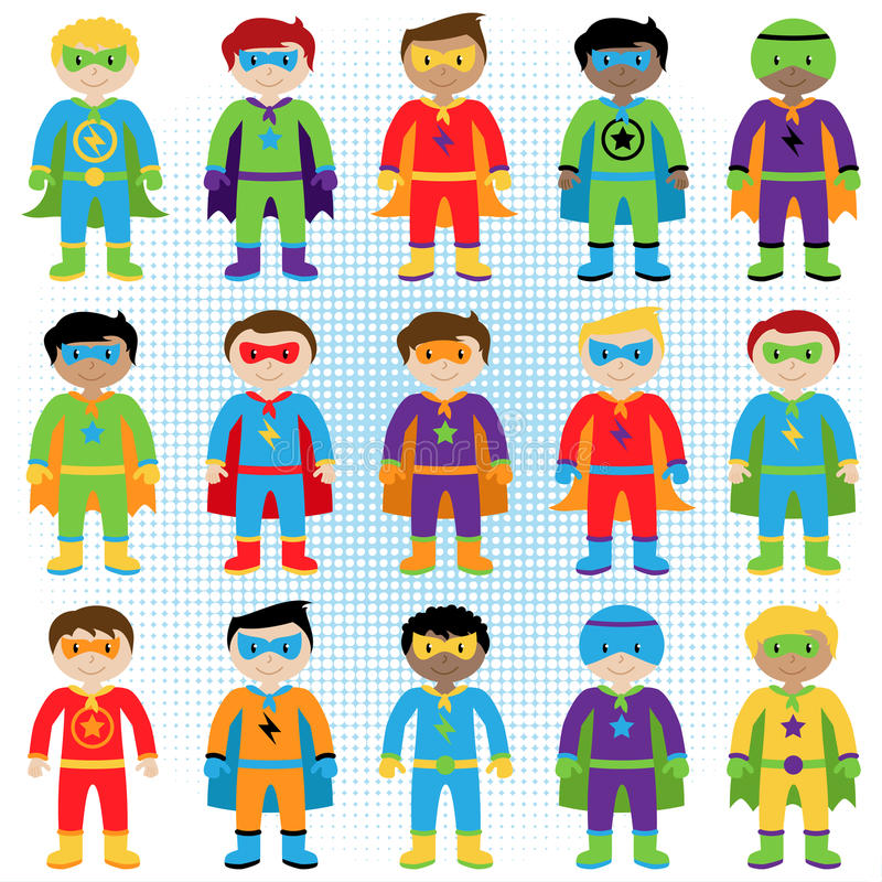 Set of Boy Superheroes in Vector Format. In Standing Pose royalty free illustration