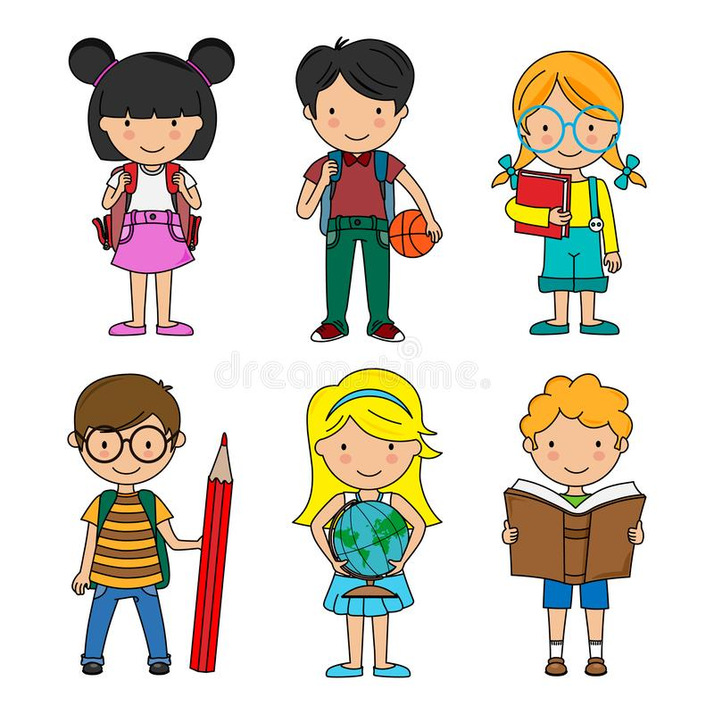 Set of boys and girls students. Vector isolated royalty free illustration