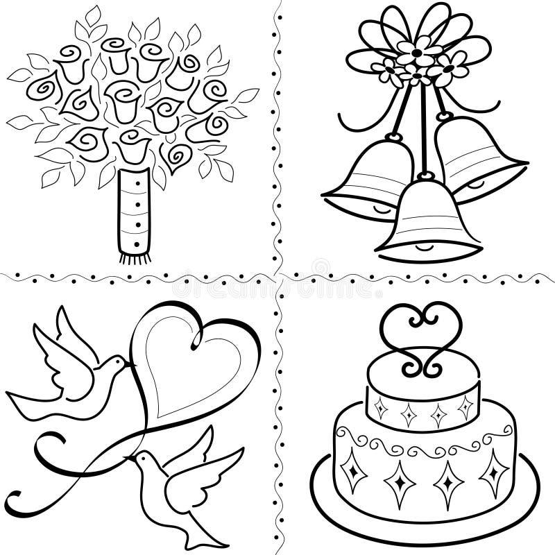 set bröllop för konstgemeps vektor illustrationer