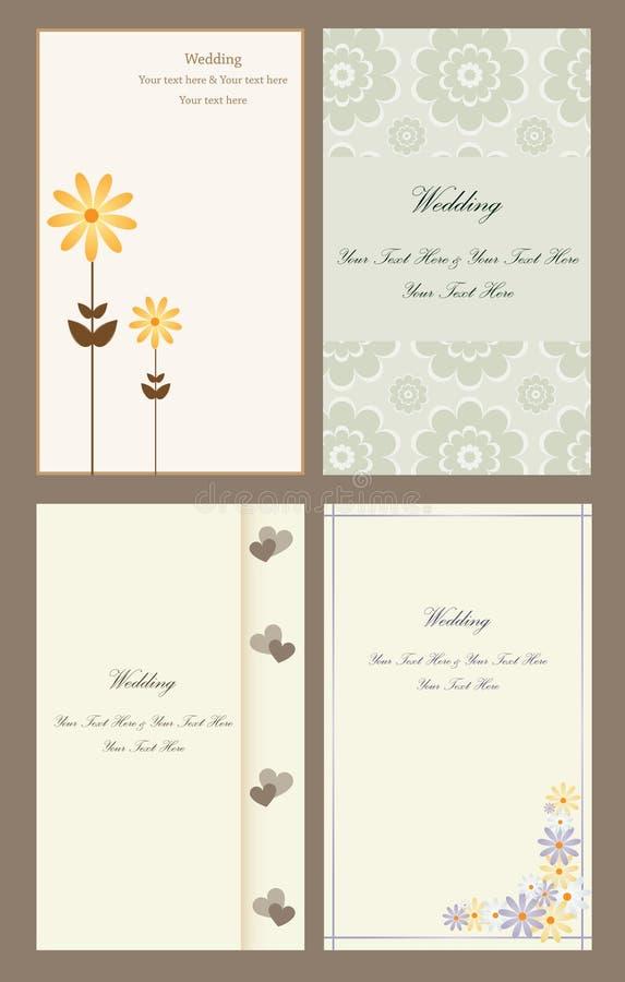 set bröllop för kortinbjudan royaltyfri illustrationer