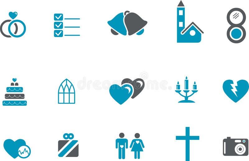 set bröllop för symbol stock illustrationer