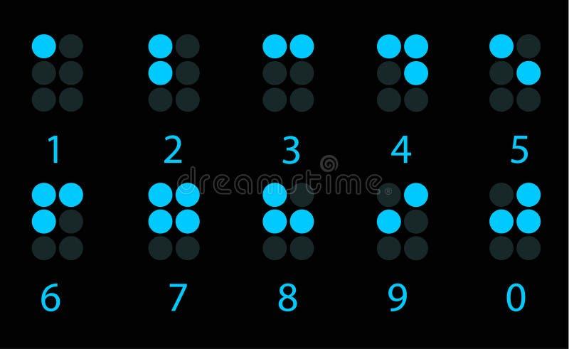 Set Braille błękitny cyfrowa liczba ilustracja wektor