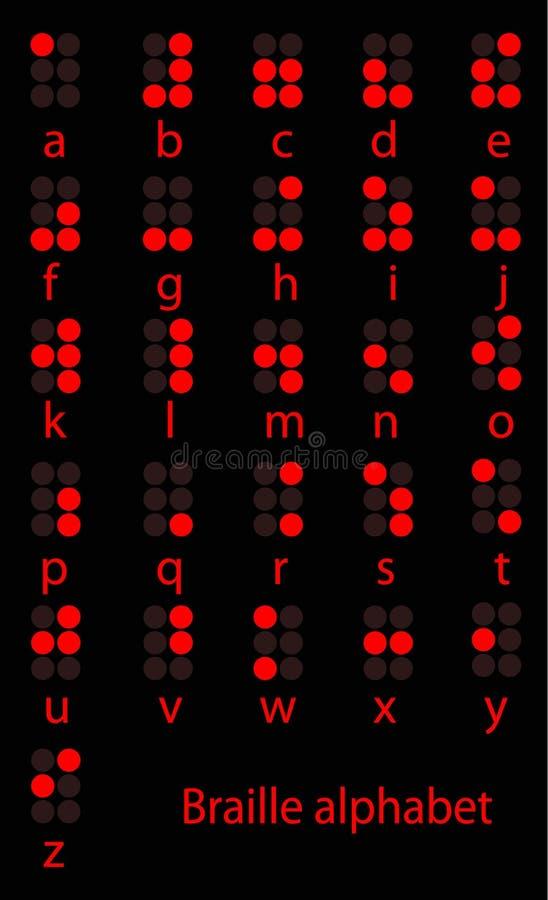 Set Braille czerwony abecadło ilustracja wektor
