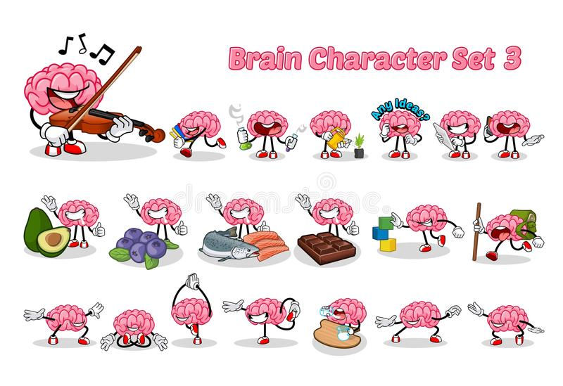 Set of Brain Cartoon Character Three Vector Illustration. This image is a set of brain cartoon character three royalty free illustration