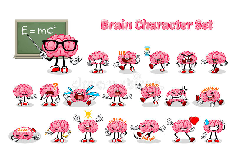 Set of Brain Cartoon Character. Vector Illustration royalty free illustration