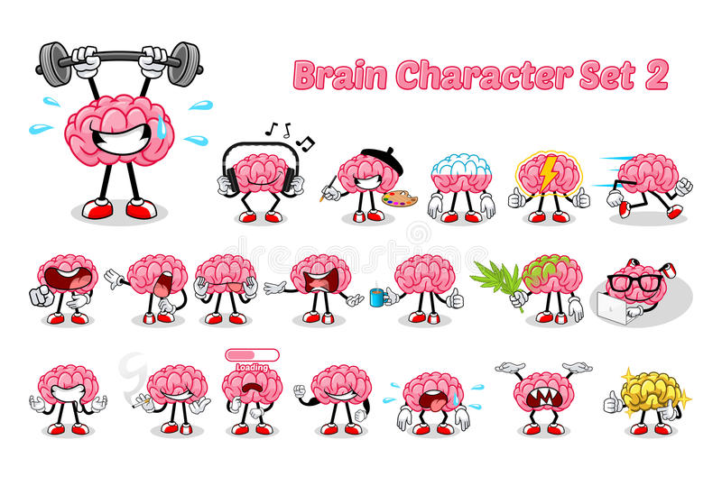 Set of Brain Cartoon Character 2. Vector Illustration stock illustration