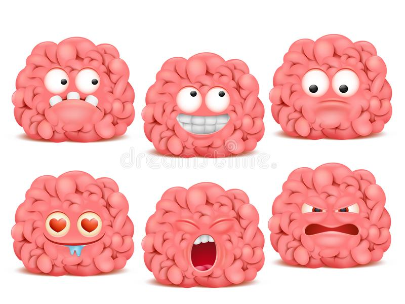 Set of brain cartoon emoji character. Vector Illustration royalty free illustration