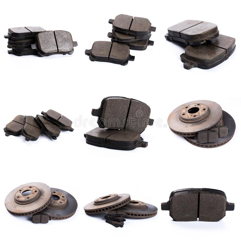 Set of brake pad for car isolated on white. Set of brake pad, Maintenance spares for car isolated on white stock images