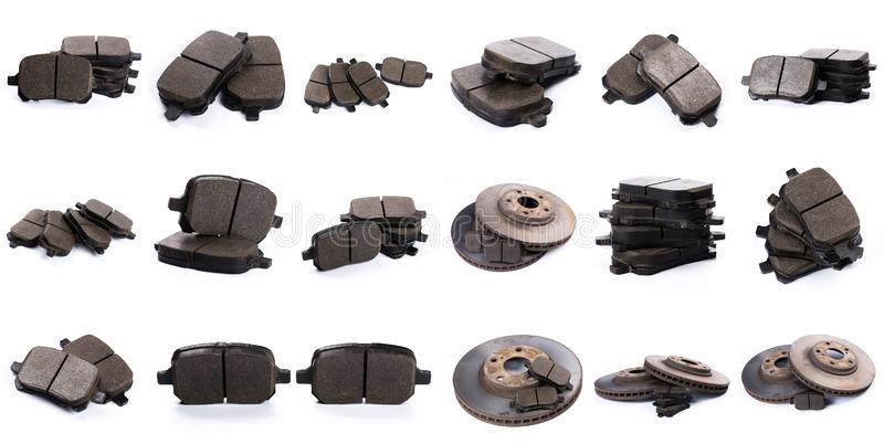 Set of brake pad for car isolated on white. Set of brake pad, Maintenance spares for car isolated on white royalty free stock photography
