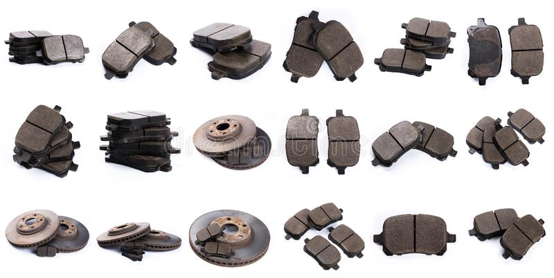 Set of brake pad for car isolated on white. Set of brake pad, Maintenance spares for car isolated on white stock photo