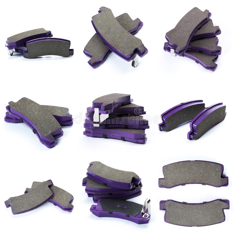 Set of brake pad for car  on white. Set of brake pad, Maintenance spares for car  on white royalty free stock image