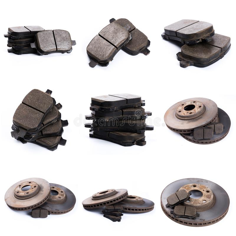 Set of brake pad for car  on white. Set of brake pad, Maintenance spares for car  on white stock photo