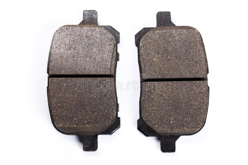 Set of brake pads, car spares isolated on white background royalty free stock image