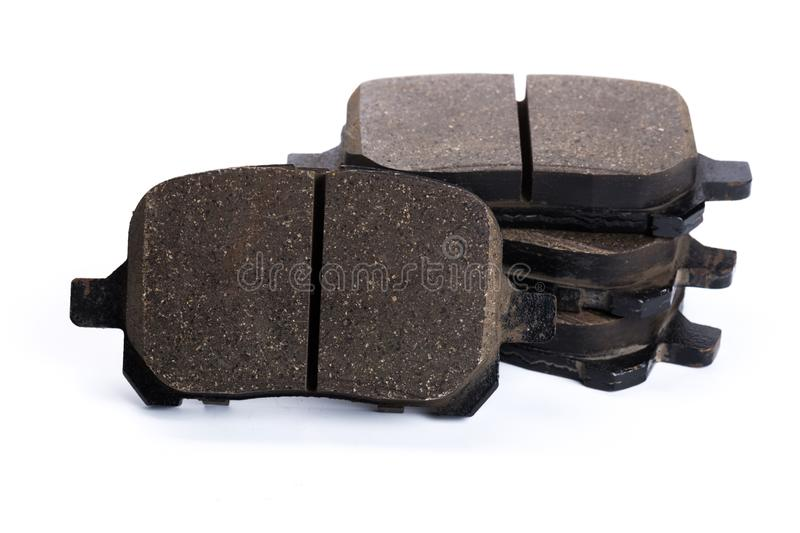 Set of brake pads, car spares isolated on white background royalty free stock photo