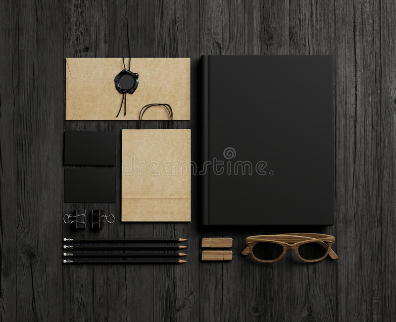 Set of branding elements on wood royalty free stock images