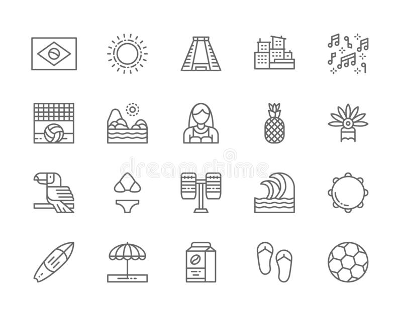 Set of Brazilian Culture Line Icons. City Favelas, Carnival, Surfboard and more. Set of Brazilian Culture Line Icons. City Favelas, Tropical Fruits, Carnival vector illustration