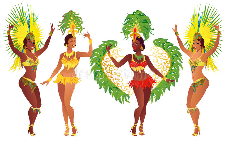 Set Brazilian samba dancer. Vector beautiful carnival girl wearing a festival costume is dancing. royalty free illustration