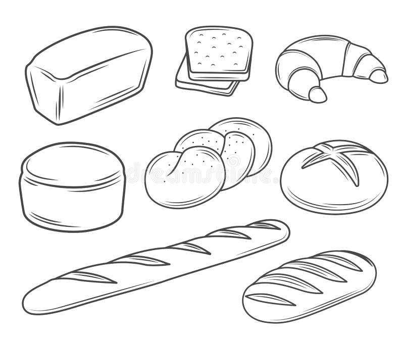 Set of bread illustrations. Set of linear bread illustrations royalty free illustration