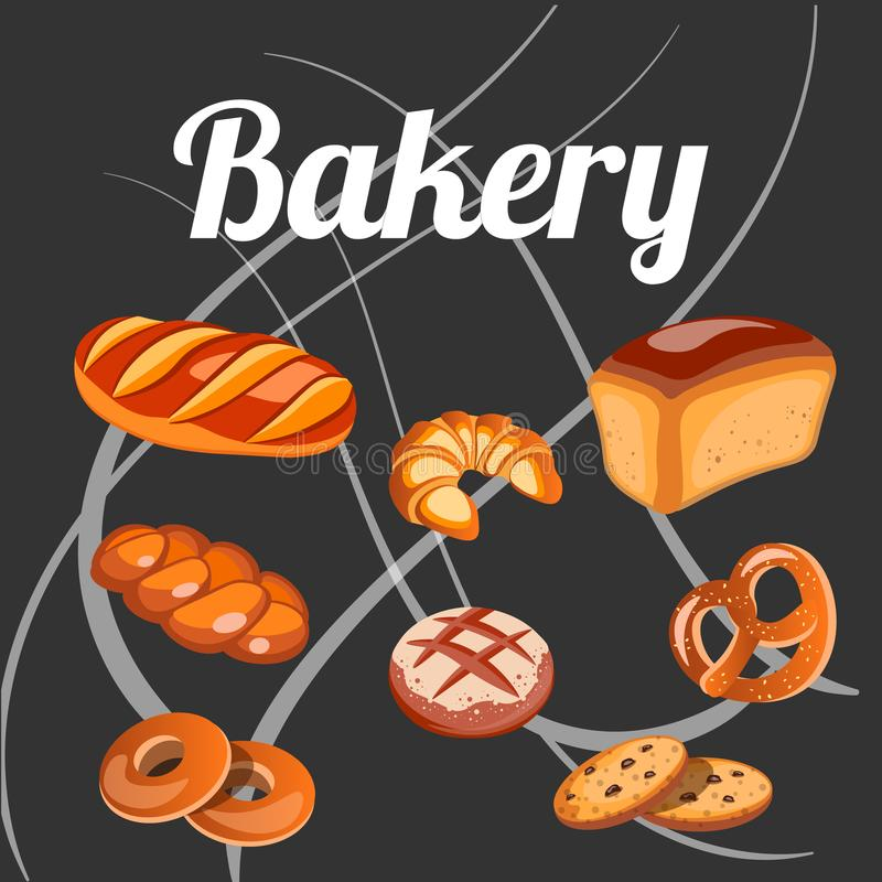 Set bread isolated on the black background. royalty free illustration
