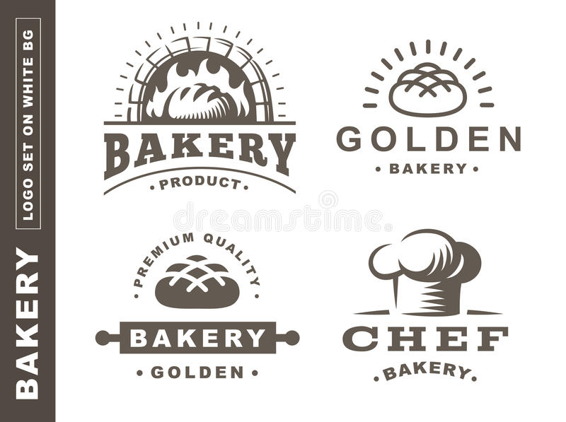 Set bread logo - vector illustration. Bakery emblem on white background royalty free illustration