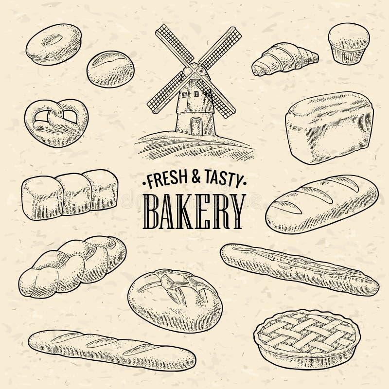 Set bread. Mill on wheat field. Vector black vintage engraving royalty free illustration