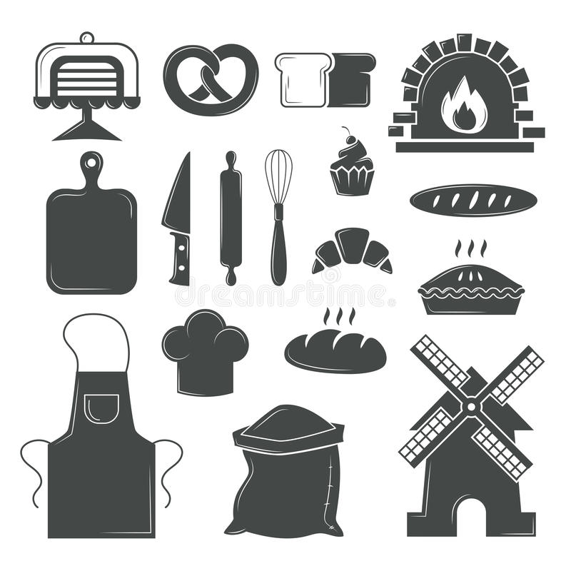 Set of bread products, bakery symbols, coffee shop elements vector. Bakery symbols and pastries set of vector design elements, kitchen tools, confectionery and vector illustration