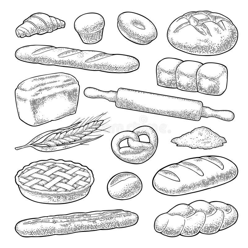 Set bread. Vector black vintage engraving illustration royalty free illustration