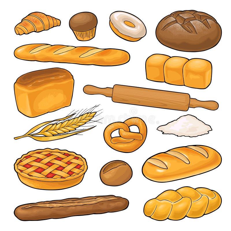 Set bread. Vector color illustration on the white background stock illustration