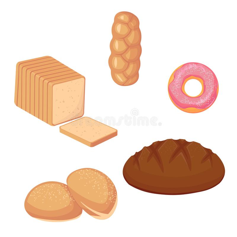 Set of breads and donut. vector illustration isolated on white vector illustration
