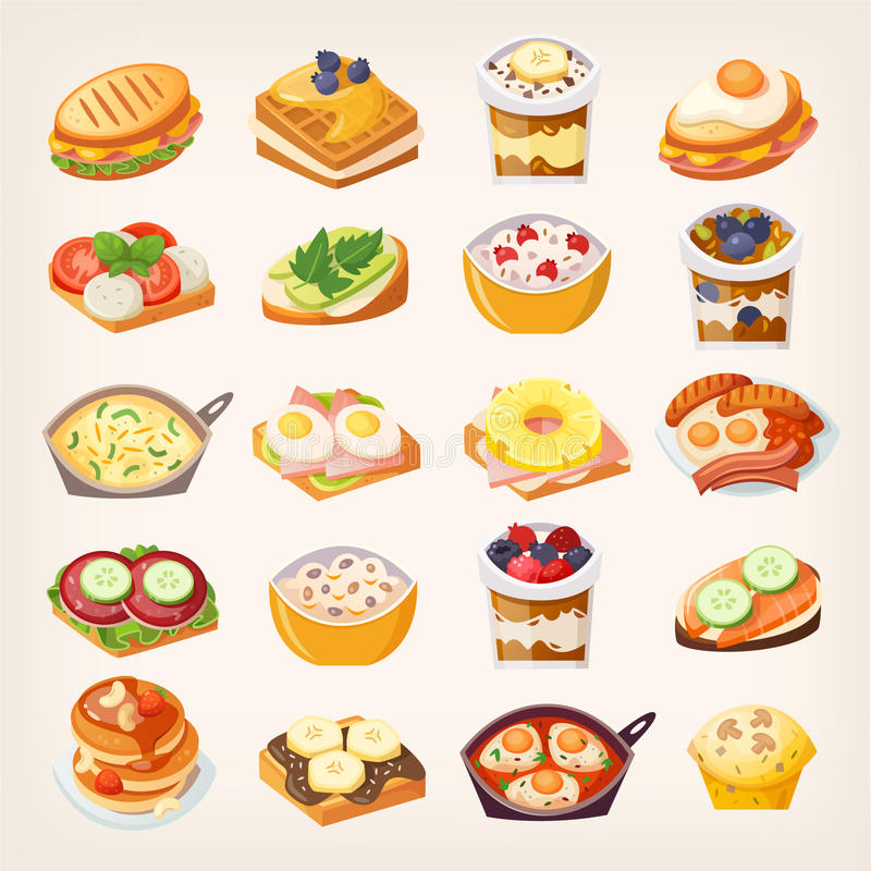 Set of breakfast dishes royalty free illustration