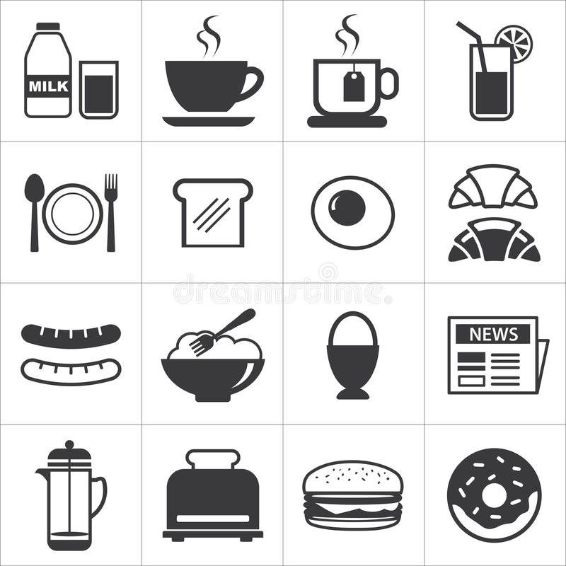 Set of breakfast icon royalty free illustration